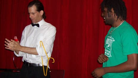 Chicago comedy magician performs The Great Escape with the help of an adult member of the audience!