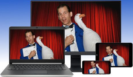 Virtual Magician, The Amazing Gary, streaming LIVE magic shows to your desktop, laptop, tablet or smartphone via Zoom videoconferencing!
